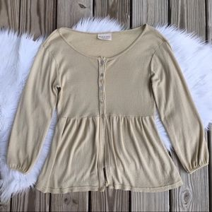 Michael Stars Gold Shimmer Pleated Button Cardigan